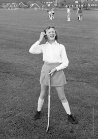 #83727,  Going out for hockey on the school field, Whitworth Comprehensive School, Whitworth, Lancashire.  1970.  Shot for th...
