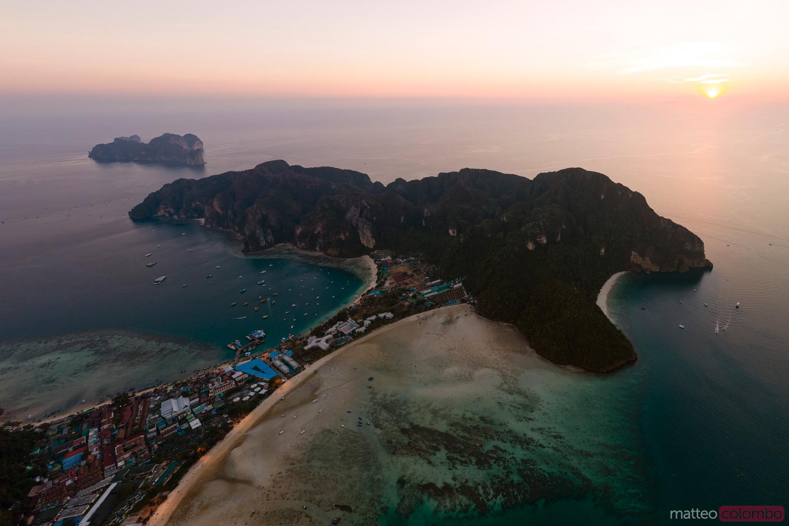 Aerial view of Ko Phi Phi island at sunset, Krabi, Thailand