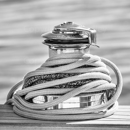 Rope wrapped winch on a classic yacht wall art. BW