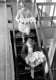 #83848,  Girls taking tea cups back from the staffroom, Whitworth Comprehensive School, Whitworth, Lancashire.  1970.  Shot f...