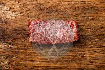 Raw fresh marbled meat Steak Wagyu beef on wooden background