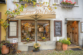 STAUFEN, GERMANY - OCTOBER 28 2019. A beautiful wine shop in the old town of Staufen in Baden-Wurttemberg, Germany.