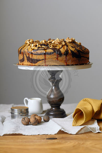 Vegan marble cake with walnuts