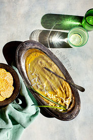 Roasted Leek Hummus in the sun