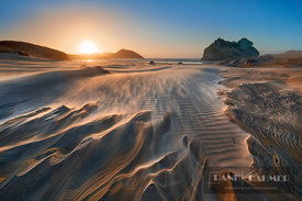 Sand beach at storm at Wharariki Beach - Oceania, New Zealand, South Island, Tasman, Golden Bay, Puponga, Wharariki Beach (Po...