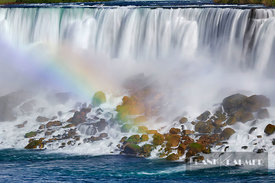 Waterfall Niagara Falls with rainbow - North America, Canada, Ontario, Niagara, Niagara Falls (Great Lakes, Lake Ontario) - d...