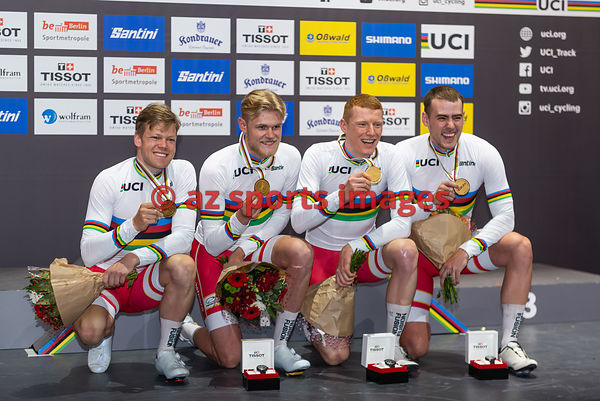 Men 's Team Pursuit medal awards ceremony - Denmark - HANSEN Lasse Norman, JOHANSEN Julius, MADSEN Frederik Rodenberg, PEDERS...