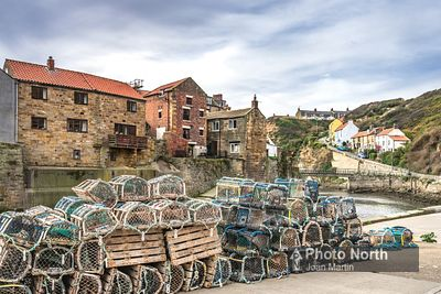 STAITHES 15A - Lobster pots and Staithes Beck