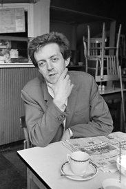 #74862,  Cornelius Cardew (1936-1981), avant-garde musician and composer, in his favourite cafe, Fitzrovia, London.  3rd July...