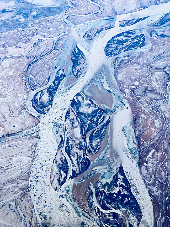 Amur River north of Petropavlovka, Russian Far East, frozen in winter, photographed from 36000 feet.