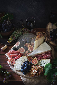 Cheese board with wine