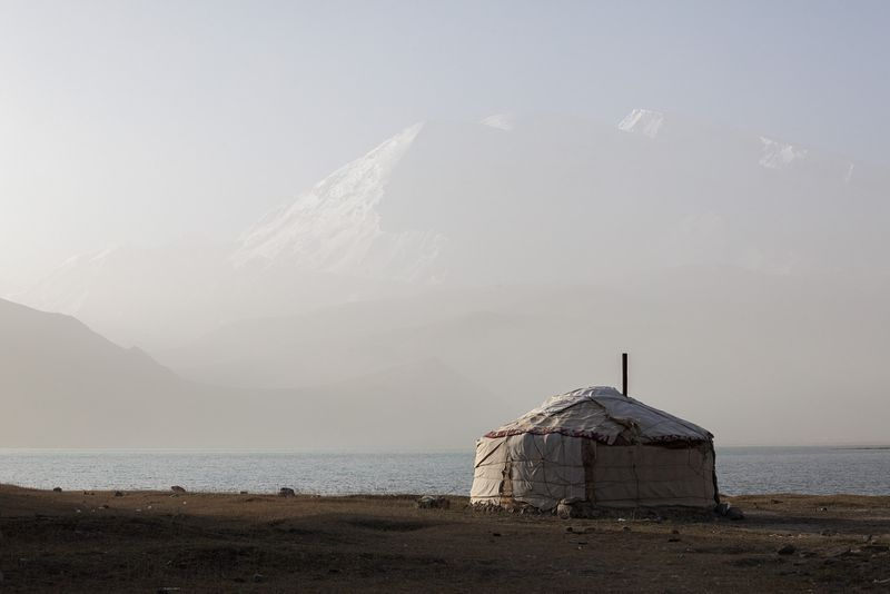 Typical kyrgyz yurt near Karakul lake, China