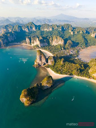 Aerial view of Railay peninsula at sunset, Krabi province, Thailand