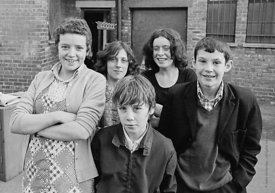 #75023  Having fun outside the building, Liverpool Free School, Liverpool  1971.  Also known as the Scotland Road or Scottie ...