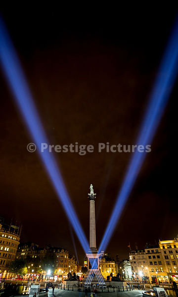 Victory Lights in Trafalgar Square at the end of the VE Day Celebration weekend