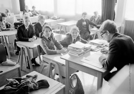 #83629,  Taking the class register, Whitworth Comprehensive School, Whitworth, Lancashire.  1970.  Shot for the book, 'Family...