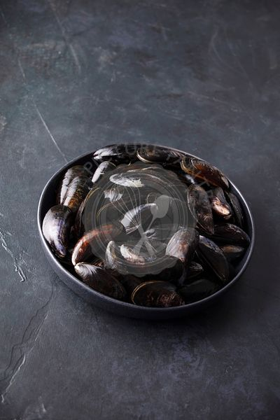Bowl with fresh raw mussels on dark background