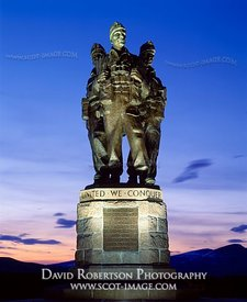 Image - Commando Memorial illuminated, Scotland, Sunset