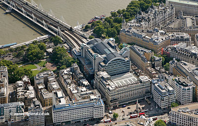 Charing Cross railway station London from the air