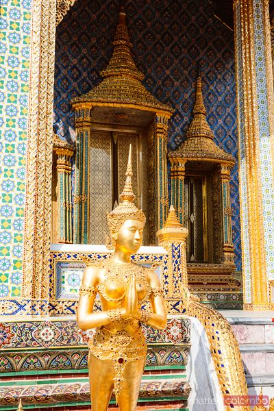 Kinnari statue, Temple of the Emerald Buddha, Bangkok, Thailand