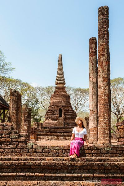 Female tourist at Si Satchanalai Historical Park, Thailand