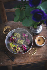 Pistachio and rosewater flavoured Turkish delight sweets