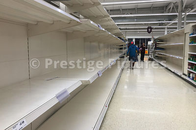 Empty supermarket shelves in Sainsbury