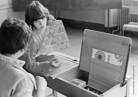 #75034  Desk lid decorated with a page from a wallpaper catalogue, Liverpool Free School, Liverpool  1971.  Also known as the...