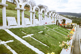 #012508,  Bryntaf Cemetery, Aberfan, Glamorgan, South Wales, 1975.  The Aberfan disaster happened on 21st October 1966 when a...