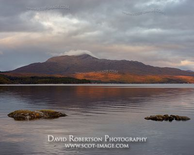 Prints & Stock Image - Beinn Resipole reflected in Loch Sunart, Lochaber, Highland, Scotland.