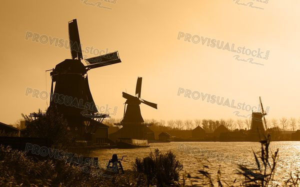 Dutch windmills silhouettes
