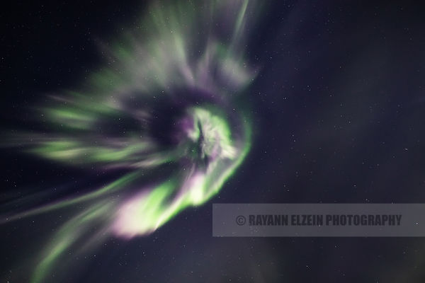 Strong aurora corona in the Utsjoki sky (Finnish Lapland)