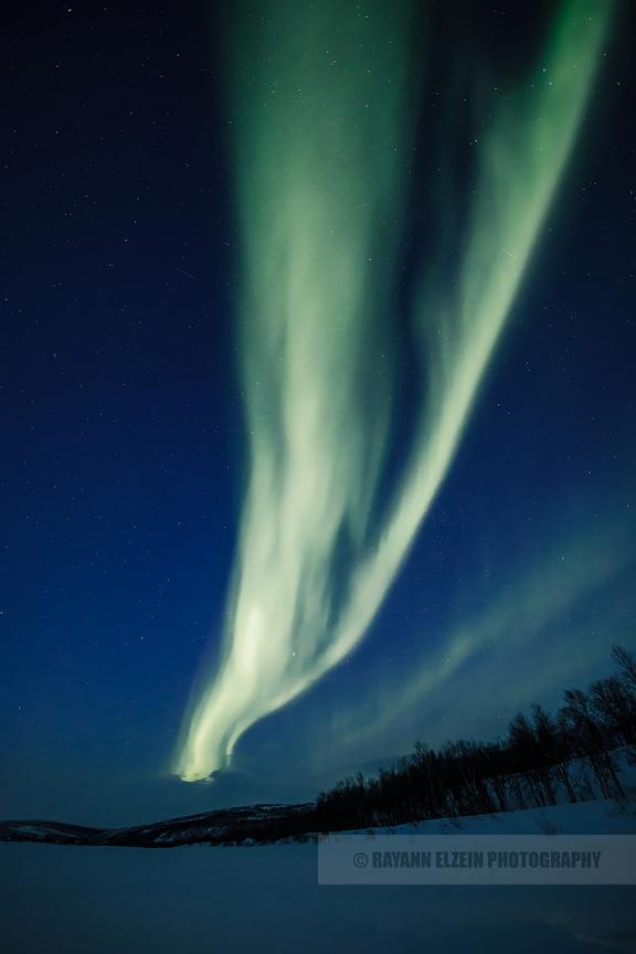 Northern lights during the blue hour in Utsjoki, Lapland
