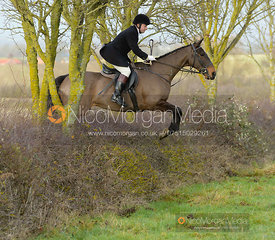 Toby Greenall jumping a hedge at Sheepwash