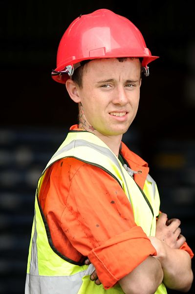 Picture by Liz Pearce. Media Wales. 010811...Sam Newman (18), at work at W.E Dowds (Shipping) Ltd where he is on work experie...