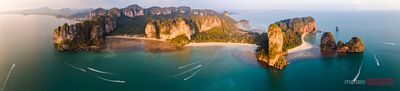 Aerial panoramic view of coastline, Railay, Thailand