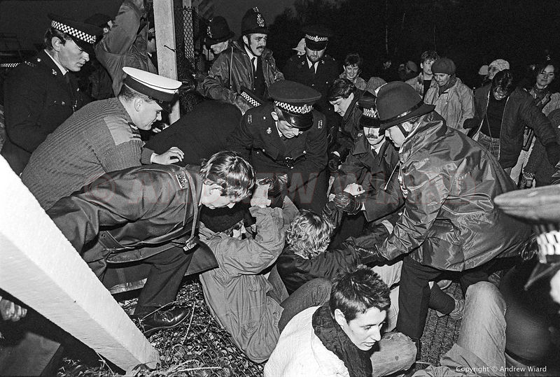 "England,UK. 10.29.1983. Greenham Common. Shortly before the first cruise missiles arrive women organise a ""Hallowe'en Party,""..."
