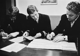 #124432,  HM Customs & Excise officers on the river Thames, London, 1973.  Here they are completing the necessary paperwork w...