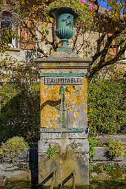 Eau Potable French for drinking water.  Drinking water fountain in the village of Planches-près-Arbois, in the Jura Departmen...