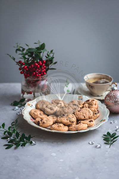 Cranberry and Brazil nut cookies  on a serving plate