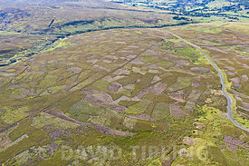 Grinton Moor above Swaledale in Yorkshire Dales, July.  Aerial image showing patchwork pattern where moor has been burnt on r...