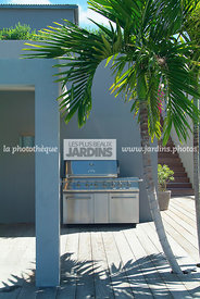 Barbecue. Villa GRO à Saint-Barthélémy (location Wimco)