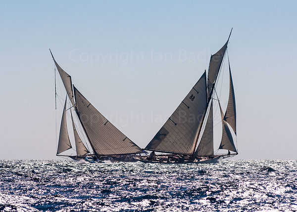 Classic yachts  racing in the Mediterranean.