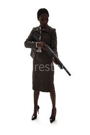 A woman, standing, holding a shotgun, in silhouette – shot from eye level.