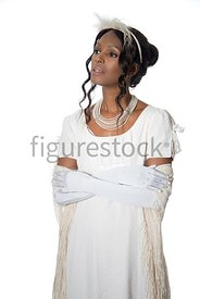 A Figurestock Regency woman in a white dress – shot from eye level.