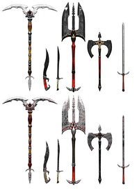 Various Fantasy Blades, Swords, Axes, Staff