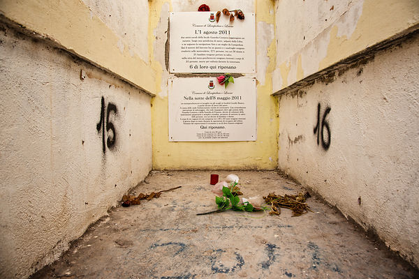 The tomb of 9 people in the cemetery of Lampedusa. 6 of them died on August 1st. 2011, by suffocation . The other 3 were foun...