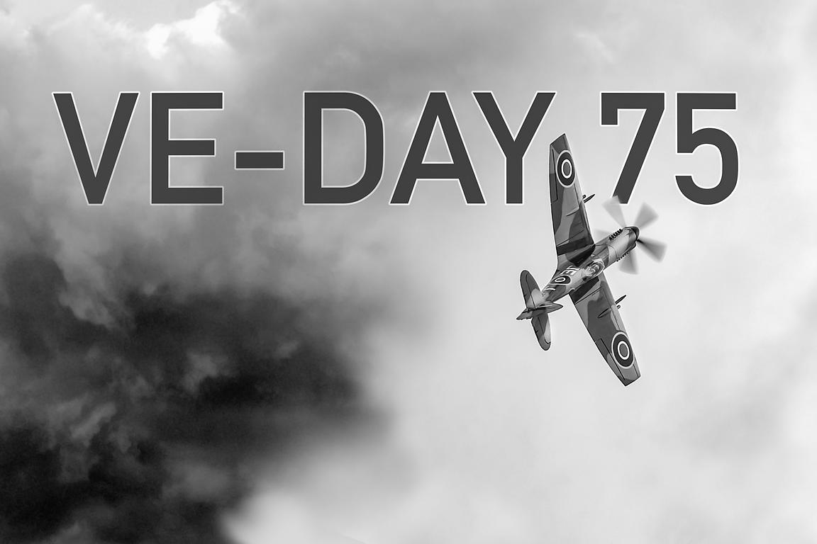 VE-Day 75th anniversary poster B&W version