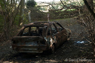 Stolen, burnt out and dumped car in woodland near Holly Hill, Kent.