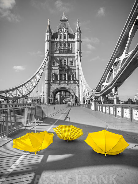 Colorful umbrellas on Tower bridge, London, UK